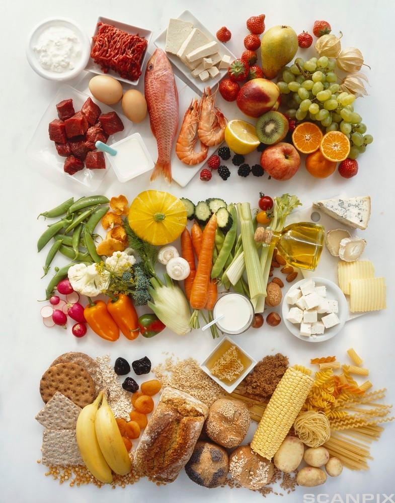 Bilete av ulike matgrupper