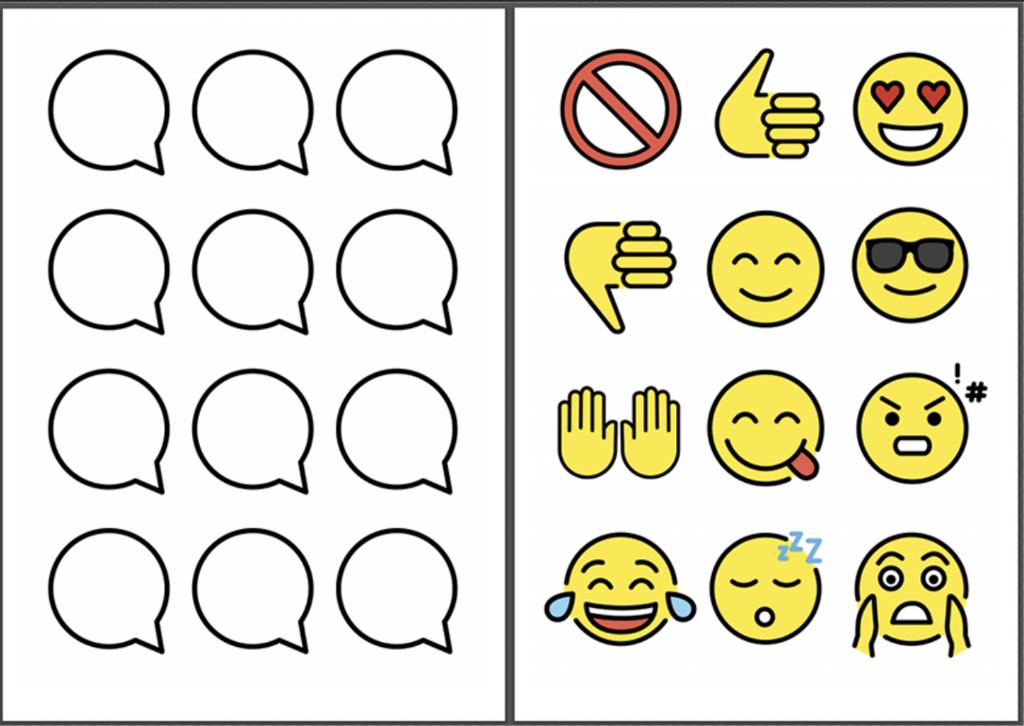 Oversikt over emoji og bobler. Grafisk.
