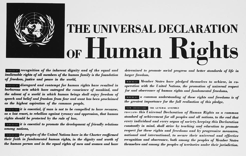 Utsnitt av FNs menneskerettighetserklæring av 1948