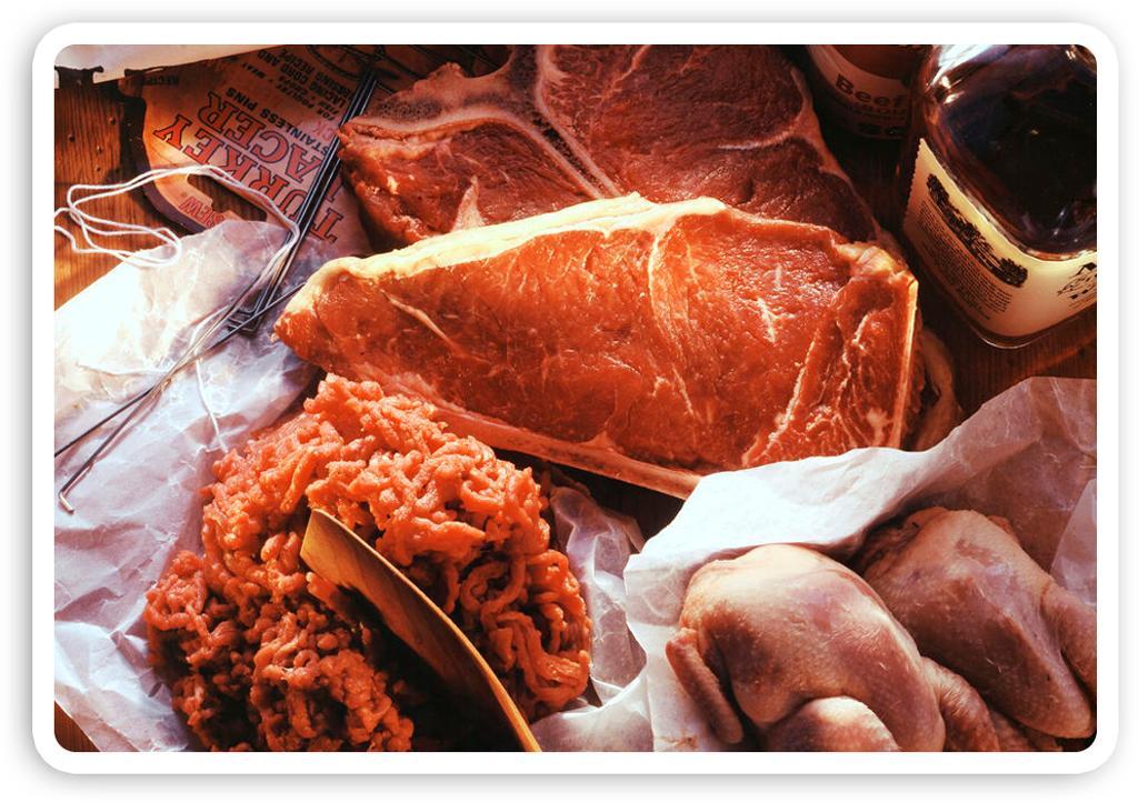 Ulike typer kjøtt og kjøttprodukter. Foto.