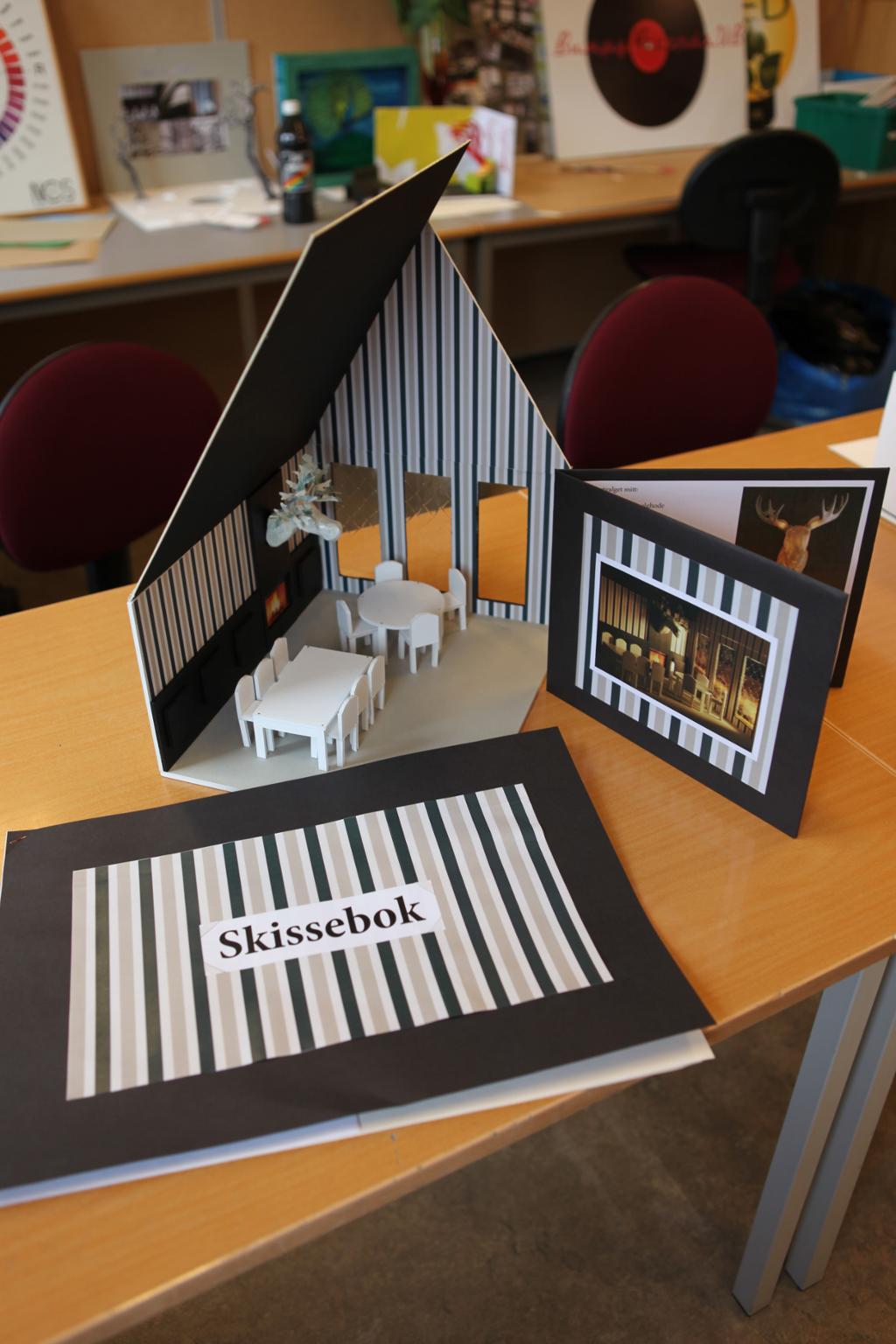 Skissebok, presentasjonsmappe og modell