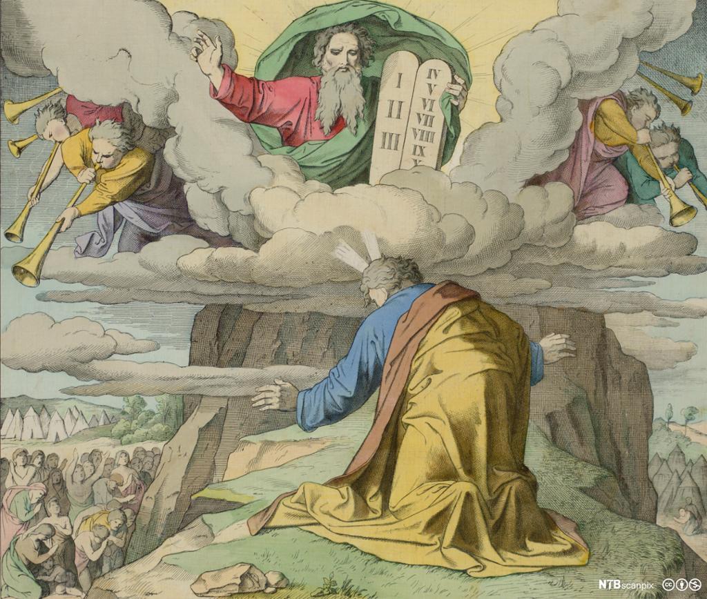 En gudsskikkelse omgitt av engler overrekker to tavler med skrift til en knelende mann på toppen av et fjell. Illustrasjon.