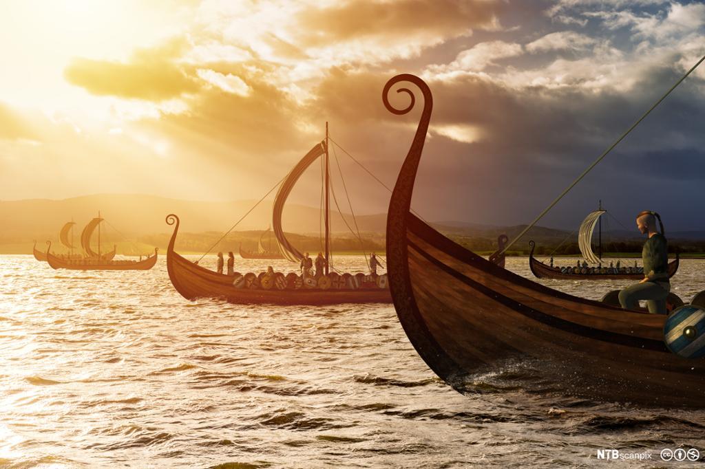 Vikingskip i sollys. Illustrasjon.