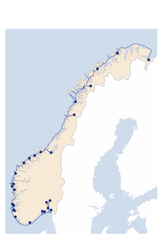 Kart over Norge og Norskekysten viser stamnettet til sjøs. illustrasjon.