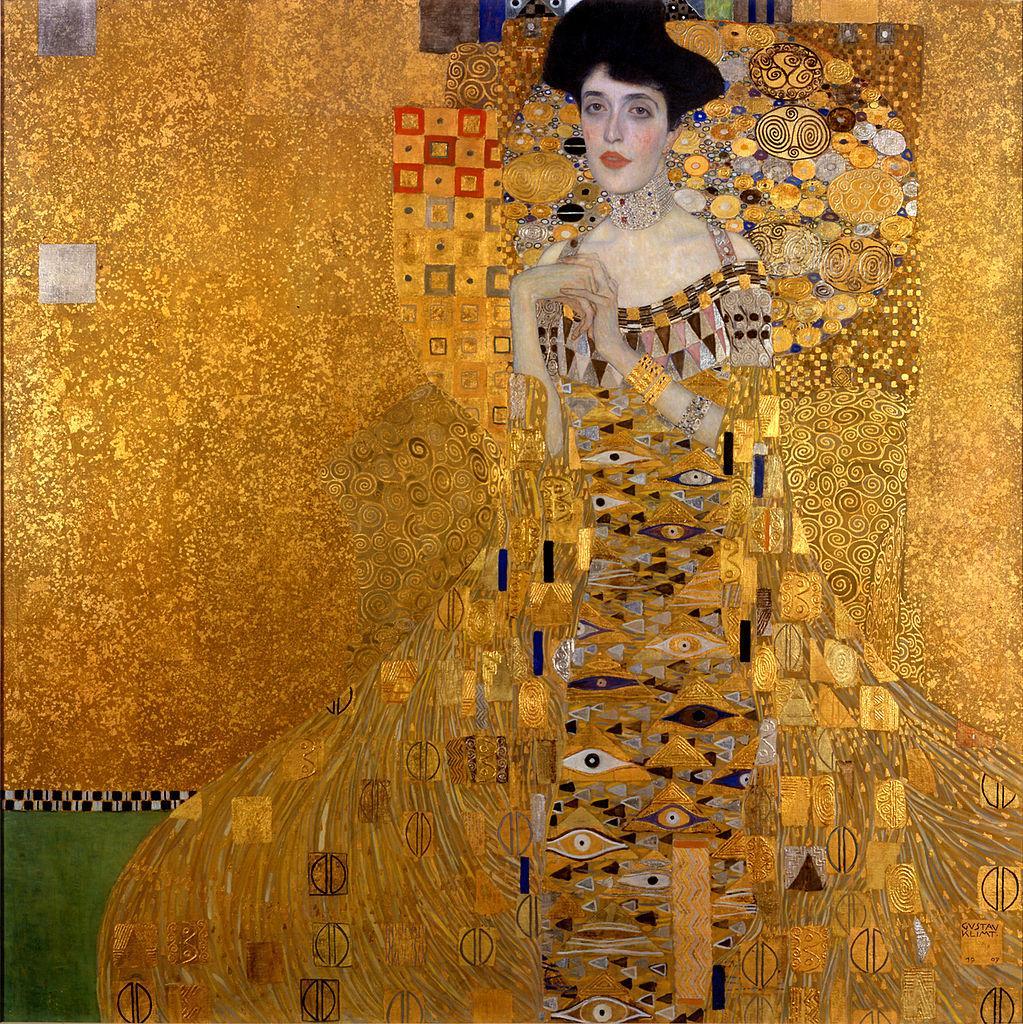 Kvinne i glitrende gul ballkjole. Maleri.