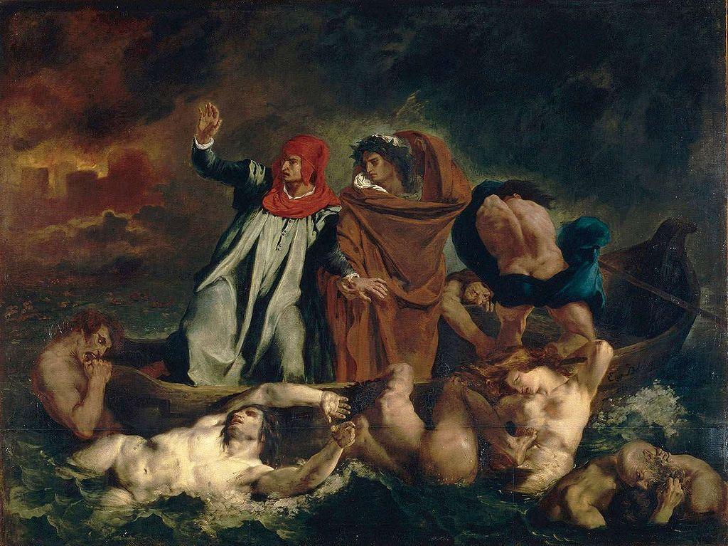 Dante og Vergil i Helvete. illustrasjon.