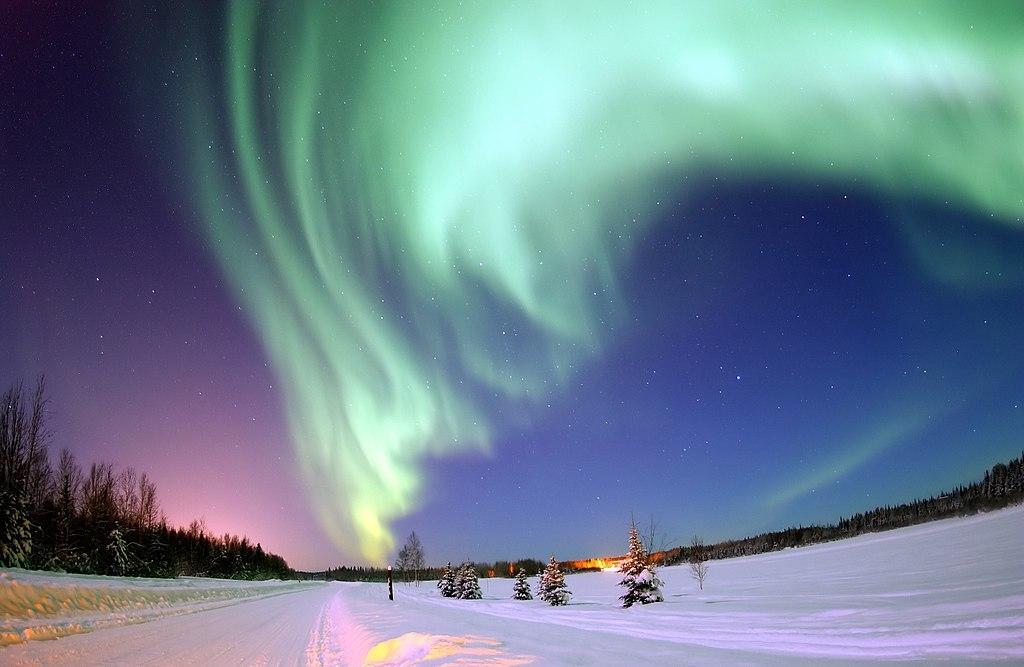 Grønt nordlys. Foto.