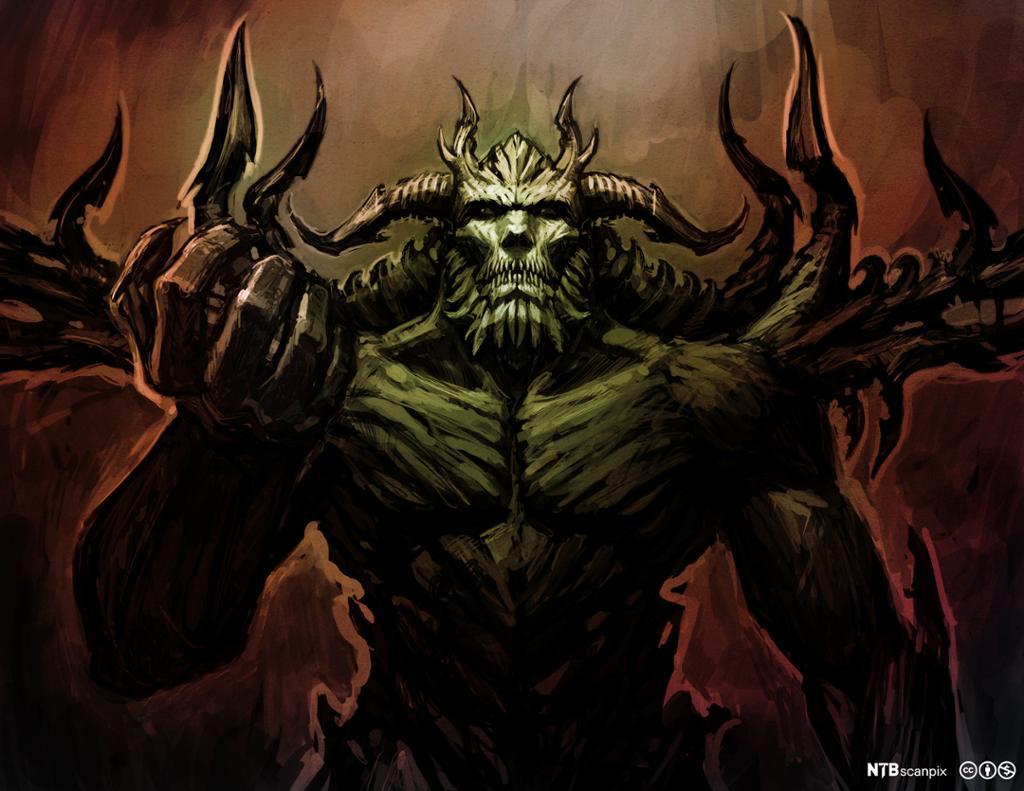Helvets hersker framstilt med horn og klør. Illustrasjon.