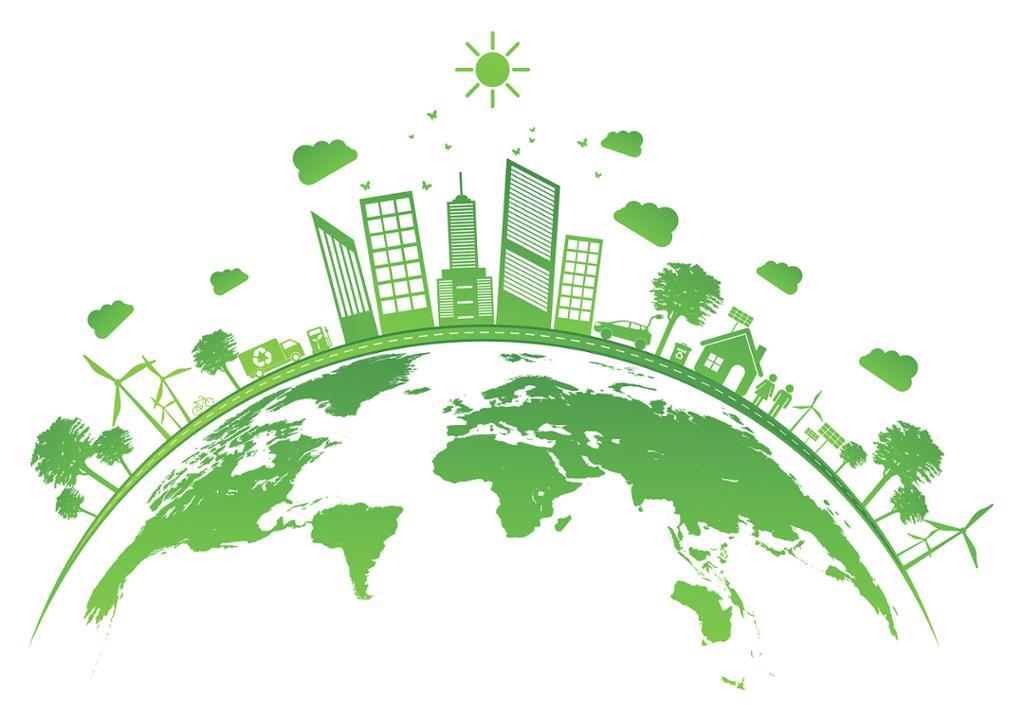 Økologisk konsept med grønn by på jorden. Foto.