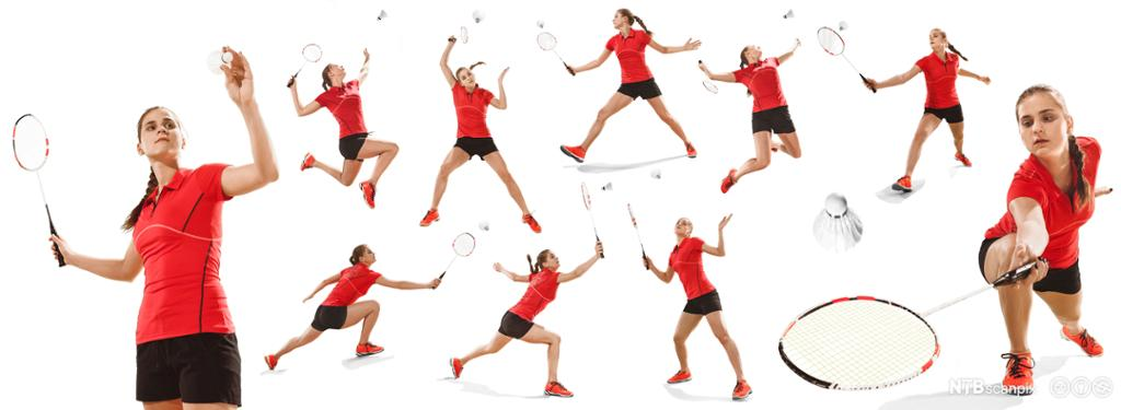 Ung kvinne demonstrerer teknikkøvelser i badminton. Foto.