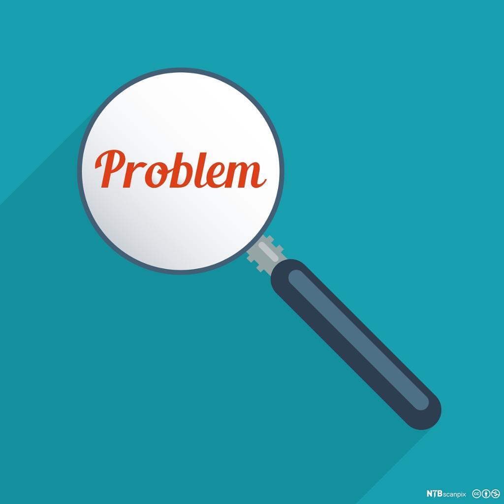 Forstørrelsesglass som fokuserer på ordet problem. Illustrasjon.