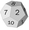 Terning med 12 sidekanter. Illustrasjon.