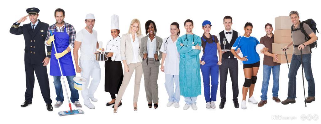 Representanter for forskjellige yrkesgrupper. Foto