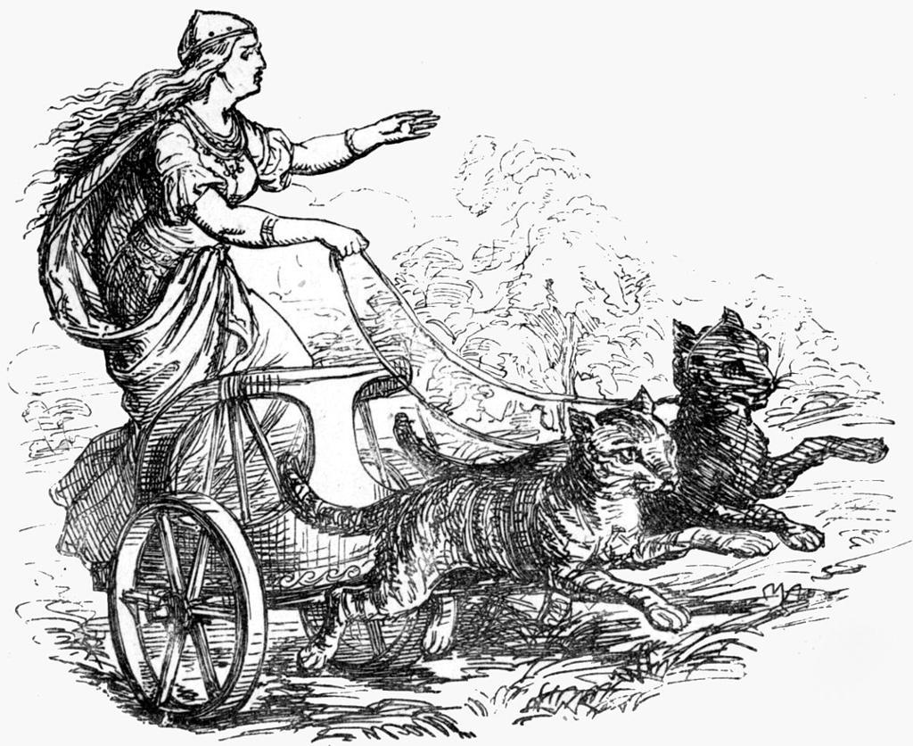 Tor katter trekker vogna med gudinna Frøya. Illustrasjon.