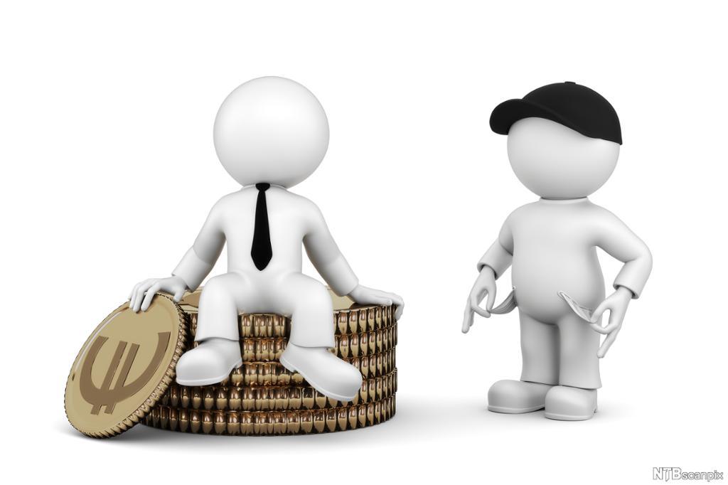 To mannlige figurer, en i slips og en med caps. En sitter på en stabel mynter. Illustrasjon.
