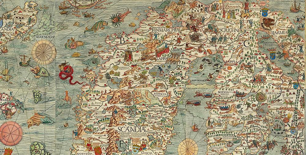 Utdrag fra Carta Marina – historisk kart. Tegning.