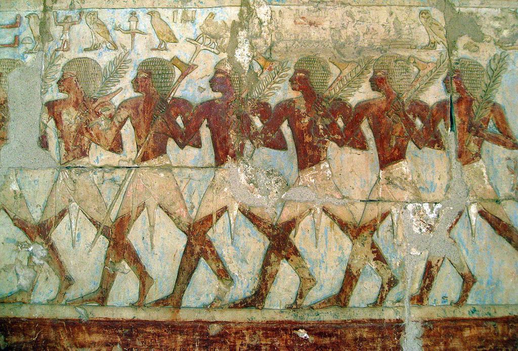 Hatshepsuts handelskespedisjon til landet Punt. Relieff fra Hatshepsuts tempel. Foto.