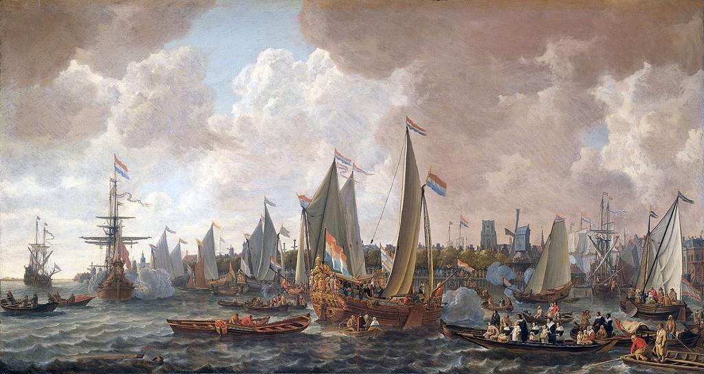 Kong Karl 2. seiler fra eksil i Nederland til England i 1660. Maleri.