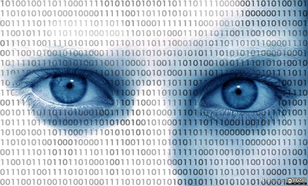 Illustrasjon av et ansikt som er dekket av digital kode. Foto.
