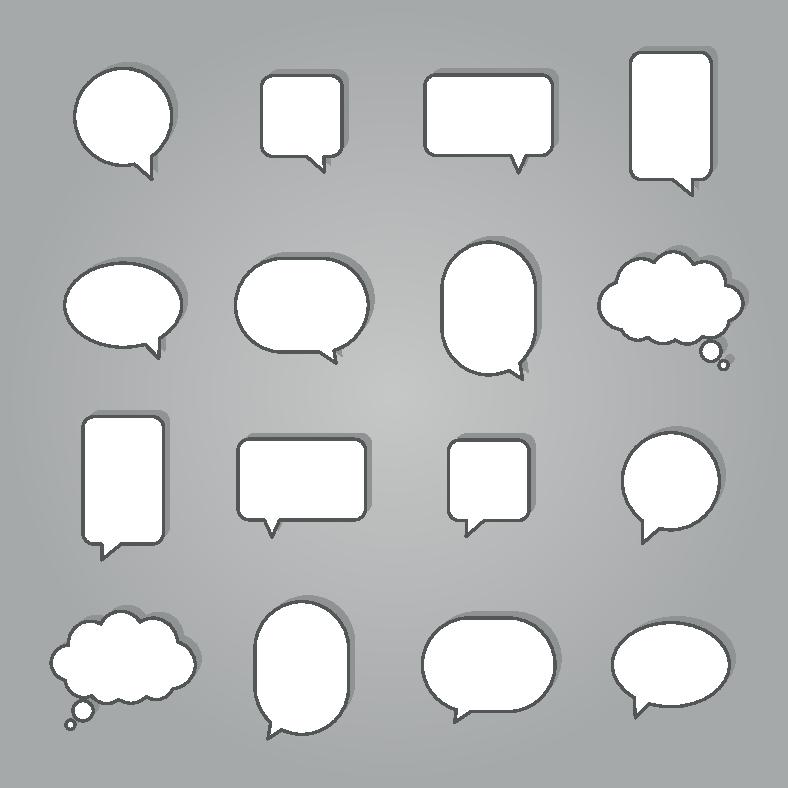 Hvite snakkebobler på grå bakgrunn. Grafikk.