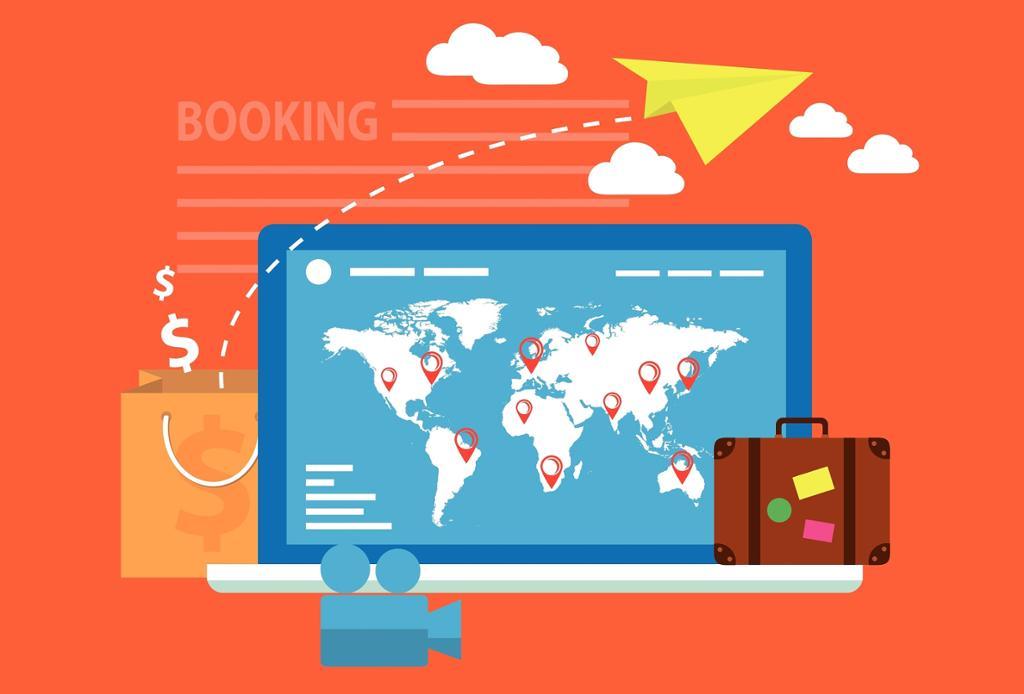 Illustrasjon som viser system for nettbooking. Bilde.