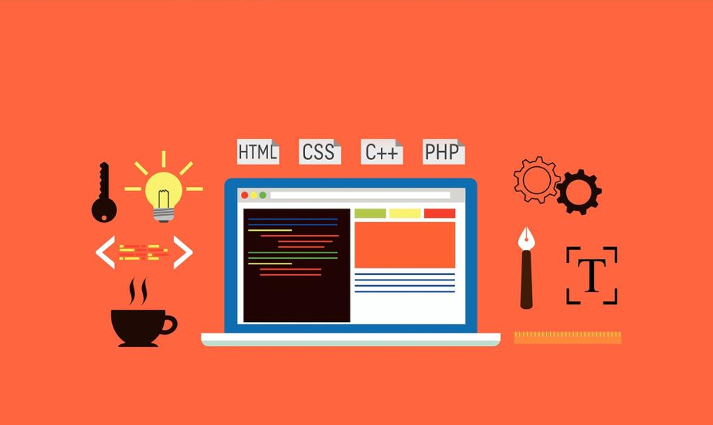Illustrasjon av laptop med symboler for koding: html, css,php. Foto.