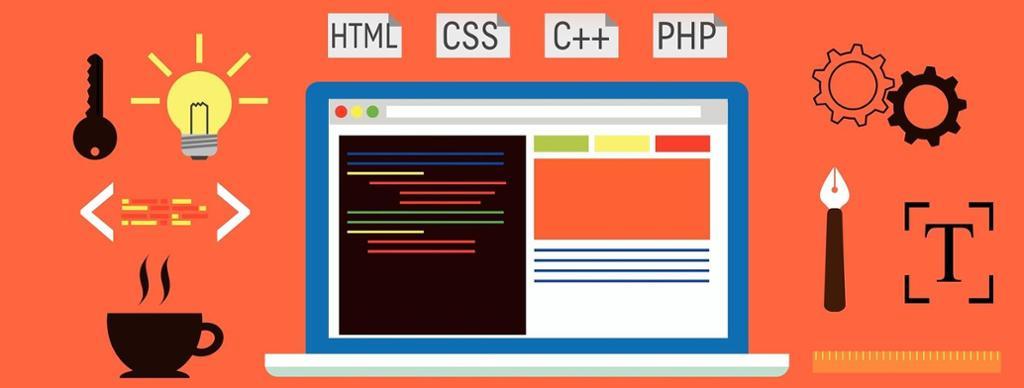 Laptop med symboler for koding: html, css,php. Illustrasjon.