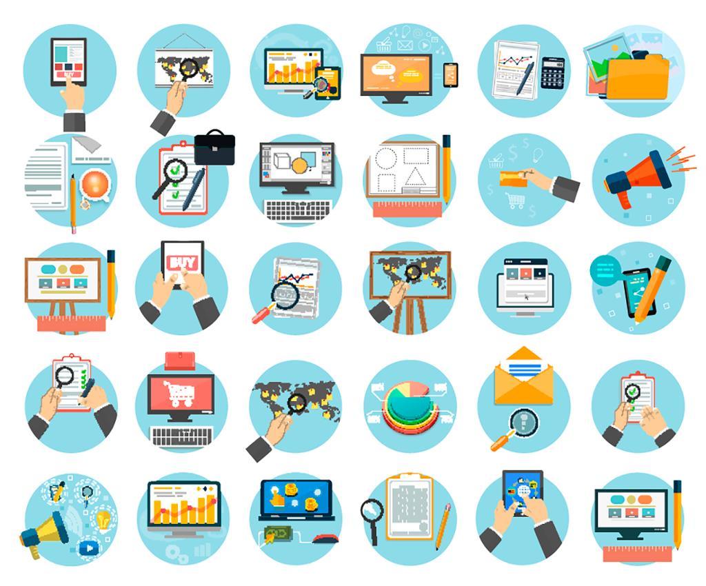 Webdesignobjekter, forretnings-, kontor- og markedsføringselementer. Foto.
