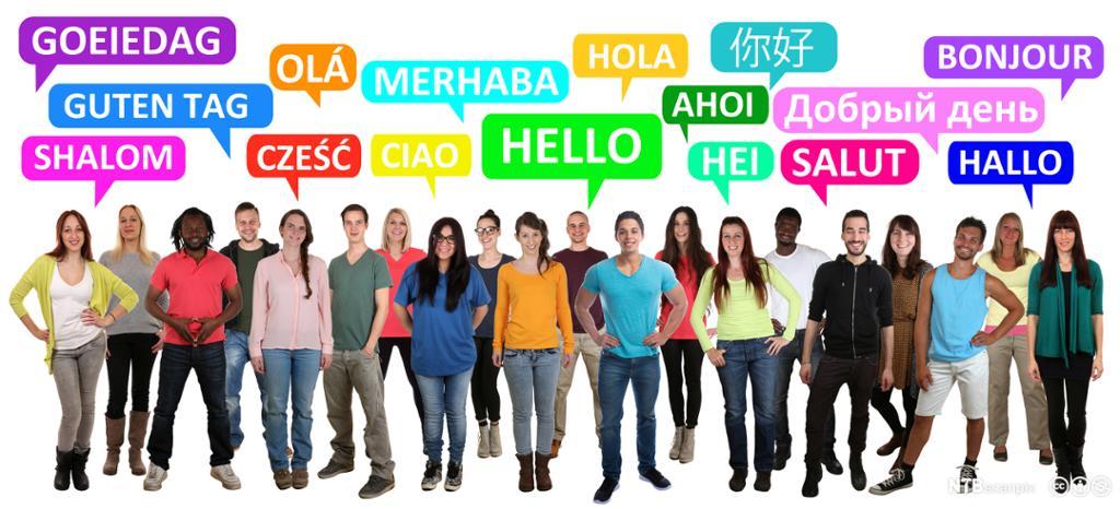 En illustrasjon av mange mennesker som hilser på ulike språk.