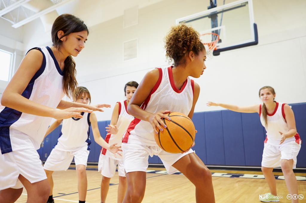 Jenter spiller basketball. Foto.