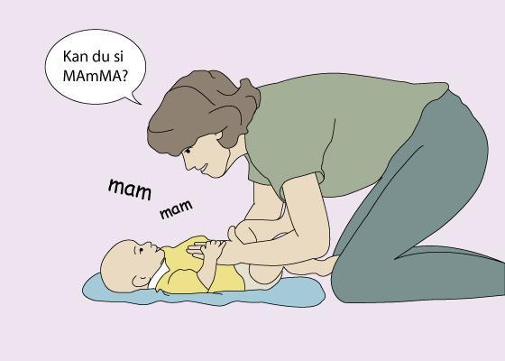 tegningen viser en voksen som sitter på kne bøyd over en baby - og kommuniserer