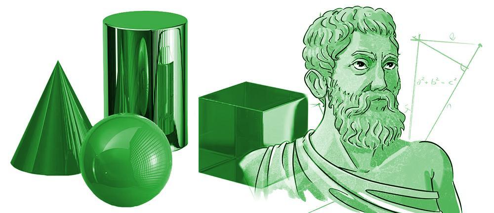 4 ulike geometriske former, en tegning som skal forestille Pytagoras og en trekantfigur som viser Pytagoras' setning. Illustrasjon.