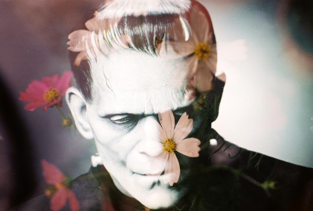 A black and white photo of Frankenstein from a movie, pink flowers on top.