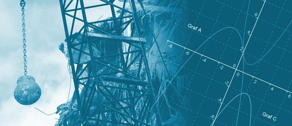 Skraphaug og heisekran med rivningskule og et koordinatsystem med tre grafer felt inn til høyre i bildet. Illustrasjon.