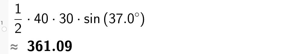 1/2 multiplisert med 40 multiplisert med 30 multiplisert med sin til 37 komma 0 grader