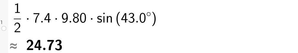 1 over 2 multiplisert med 7 komma 4 multiplisert med 9 komma 80 multiplisert med sinus til 43 grader