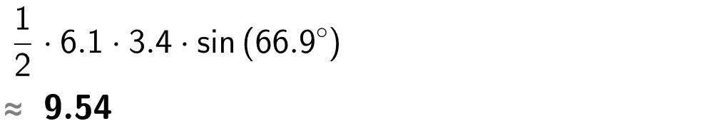 1/2 multiplisert med 6 komma 1 multiplisert med 3,4 multiplisert med sin til 66,9 grader