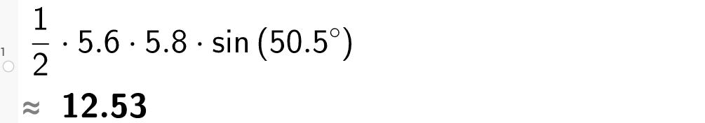 1/2 multiplisert med 5 komma 6 multiplisert med 5 komma 8 multiplisert med sin til 50 komma 5 grader
