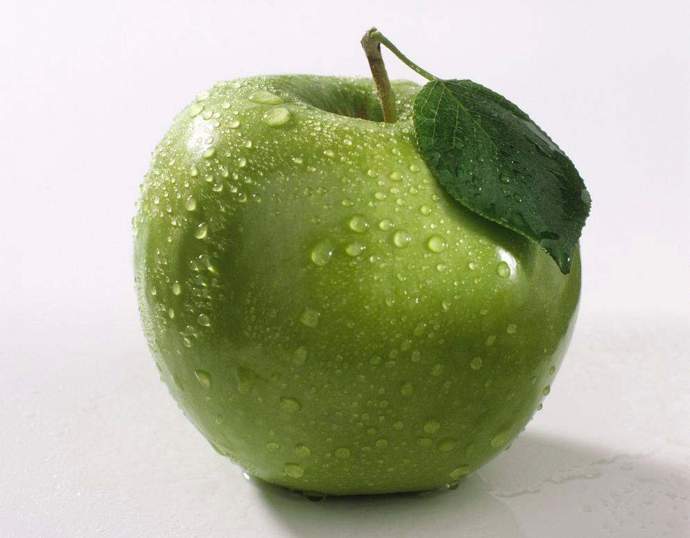 Et grønt eple. Foto.