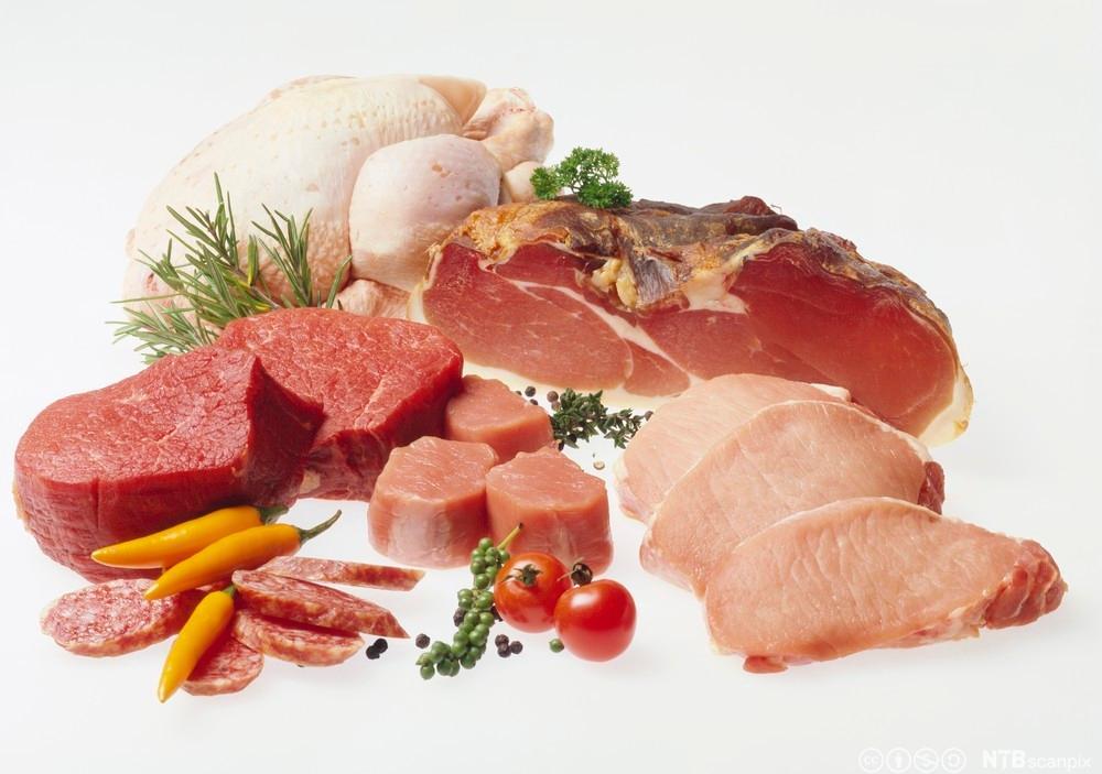 Ulike typer kjøttstykker på en benk. Foto.