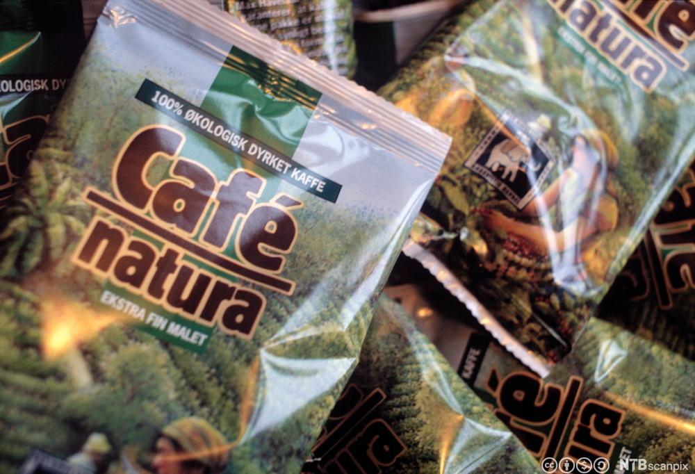 Kaffe pakket i poser. Foto.