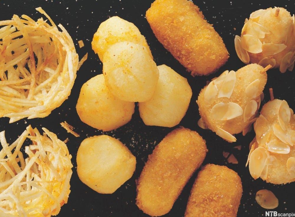 bilde av potetreder, pariserpoteter og potetkroketter