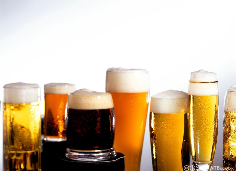 Ulike øltyper i forskjellige glass. Foto.