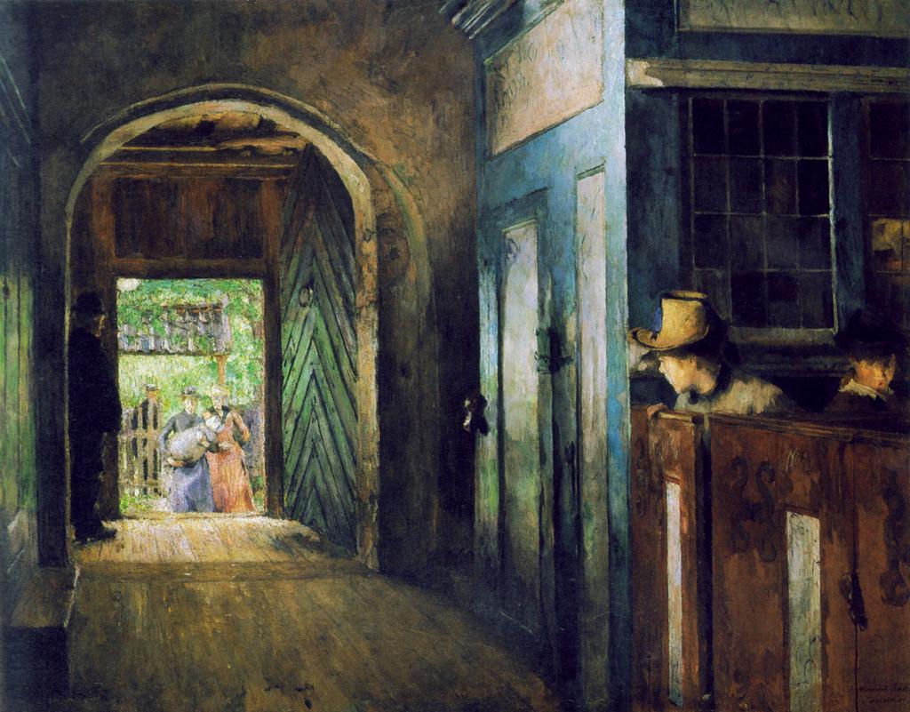 Et barn bæres inn i Tanum kirke. Maleri.
