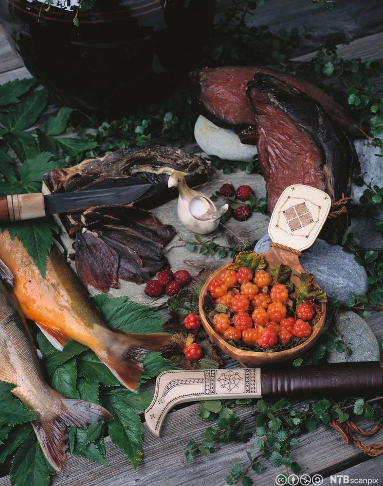Kjøtt, fisk og multer anrettet på treplanker sammen med en samisk kniv. Foto.