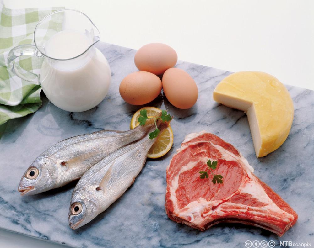 Et stykke kjøtt, fisk, egg, melk og ost på et bord. Foto.