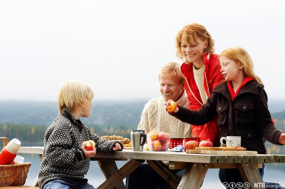 Familie spiser lunsj ute i naturen. Foto.