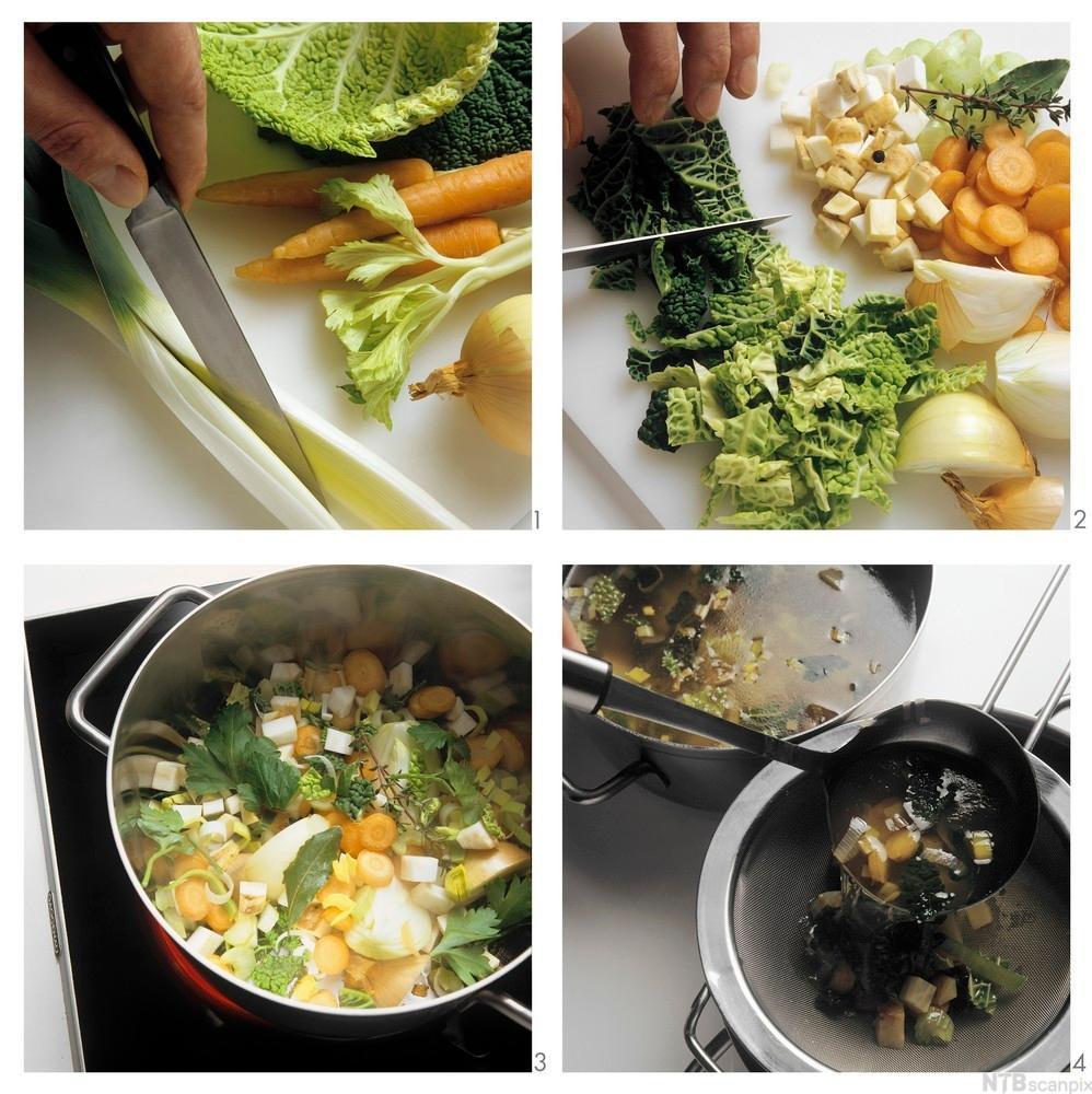 fire bilder av tilberedelse av klar grønnsakskraft