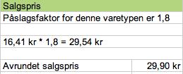 Bildet viser en kalkulasjon