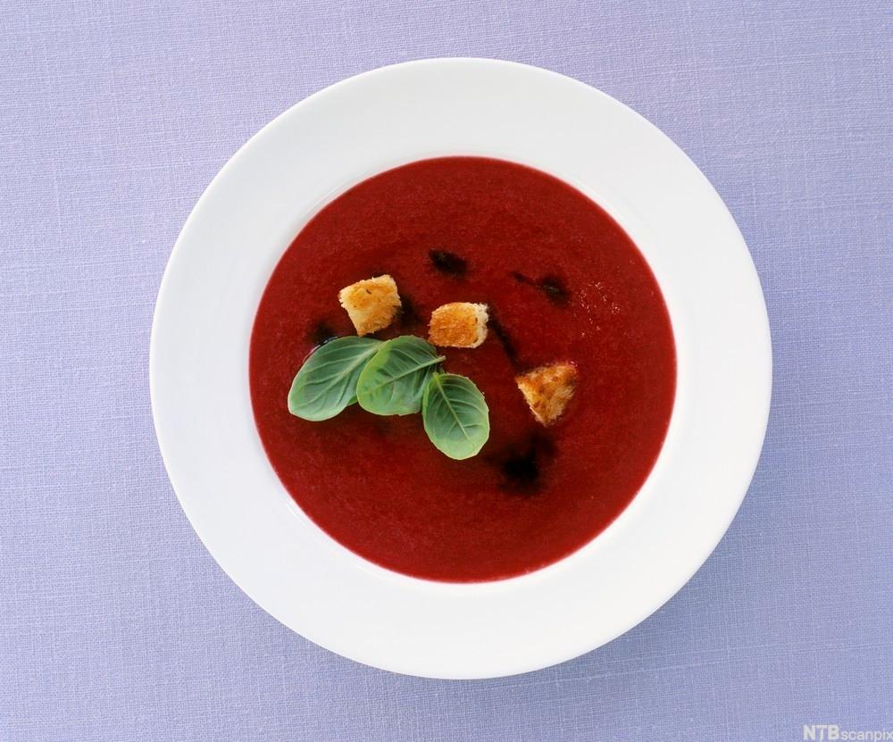 bilde av en rød bærsuppe